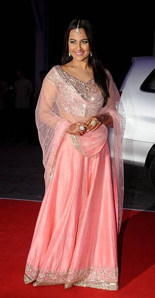 Indian Bollywood Actress Sonakshi Sinha Attends The Wedding Reception Of His Borther Kussh And Taruna