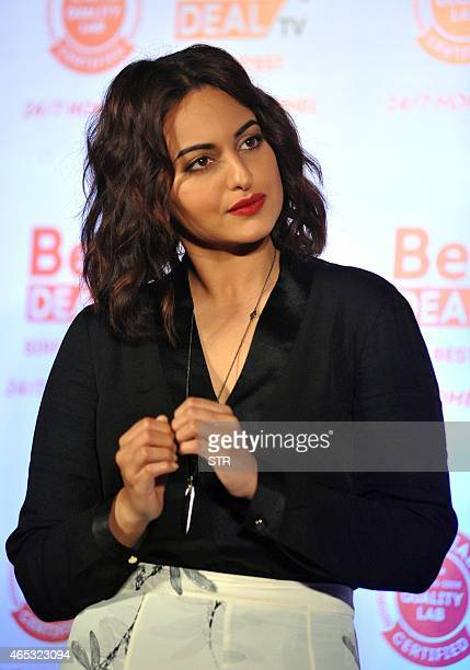 Indian Bollywood actress Sonakshi Sinha poses at the unveiling of the first look of Best Deal TV Indias first celebritydriven 24/7 Home Shopping...