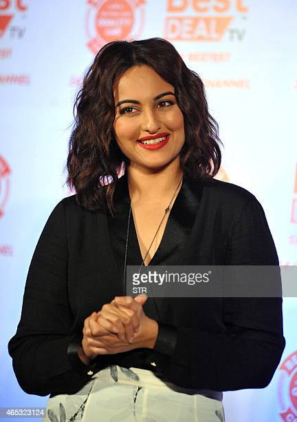 Indian Bollywood actress Sonakshi Sinha poses at the unveiling of the first look of Best Deal TV, Indias first celebrity-driven 24/7 Home Shopping...
