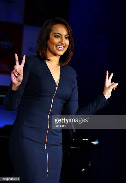 Indian Bollywood actress Sonakshi Sinha poses during a promotional event in Mumbai on March 31, 2015. AFP PHOTO/STR