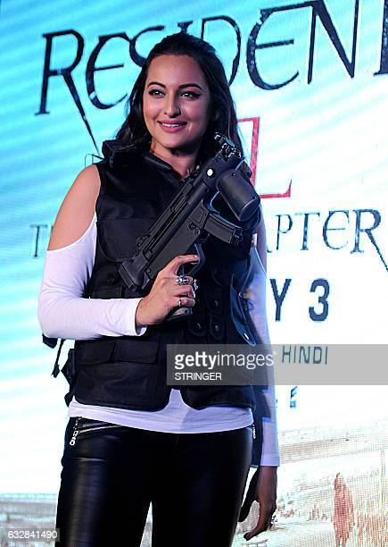 Indian Bollywood actress Sonakshi Sinha poses during the promotion for Indias first Virtual Reality Haptic Gaming Experience Action Franchise...