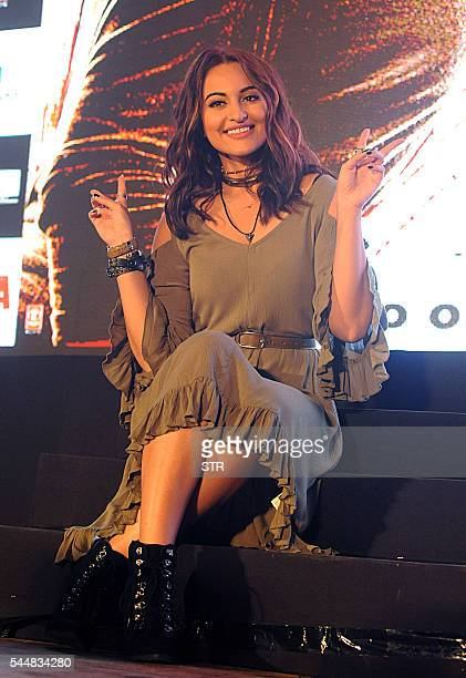Indian Bollywood actress Sonakshi Sinha takes part in a promotional event for the forthcoming Hindi film 'Akira' directed and produced by AR...