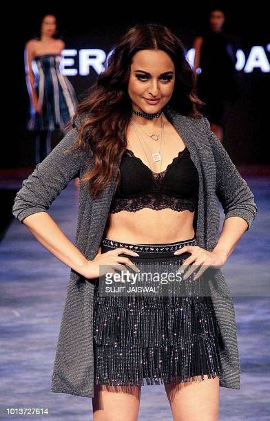 Indian Bollywood actress Sonakshi Sinha walks on the ramp to showcase the highstreet fashion labels JACK JONES VERO MODA ONLY SELECTED HOMME JUNA...