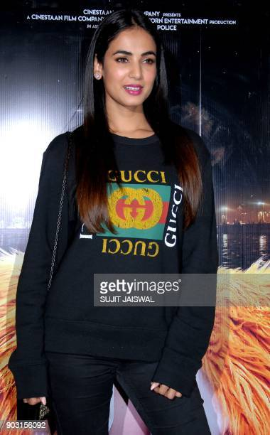 Indian Bollywood actress Sonal Chauhan attends the special screening of upcoming comedy Hindi film 'Kaalakaandi' in Mumbai on January 9 2018 / AFP...