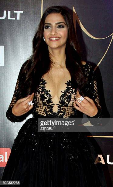 Indian Bollywood actress Sonam Kapoor poses for a photograph during the Star Guild Awards 2015 in Mumbai on December 22 2015 AFP PHOTO / STR / AFP /...
