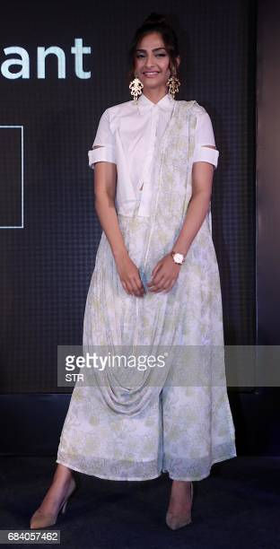 Indian Bollywood actress Sonam Kapoor takes part in a promotional event in Mumbai on May 17 2017 / AFP PHOTO / STR