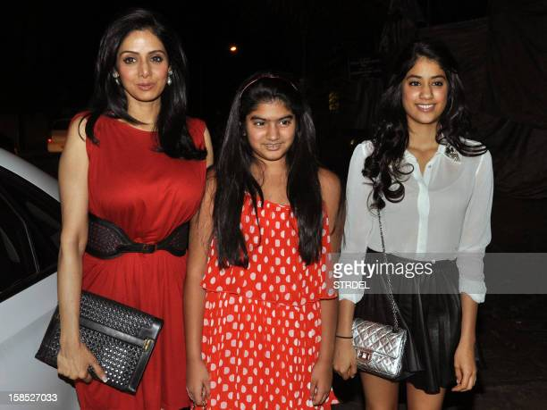Indian Bollywood actress Sridevi poses with daughters Khushi and Jhanvi Kapoor as they attend an event for the Indian edition of People magazine in...