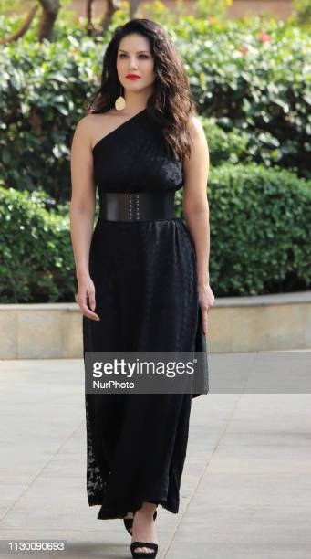 Indian Bollywood actress Sunny Leone arrives as she promotes India`s online gaming platform, 11Wickets.com in Mumbai, India on 12 March 2019....