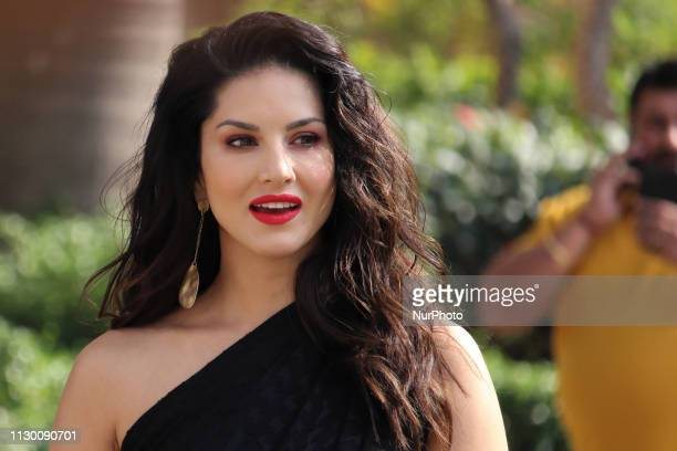 Indian Bollywood actress Sunny Leone arrives as she promotes India`s online gaming platform 11Wicketscom in Mumbai India on 12 March 2019...