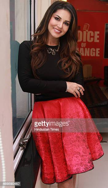 Indian Bollywood actress Sunny Leone during an exclusive interview with HT City for the promotion of her upcoming movie Ek Paheli Leela at HT Media...