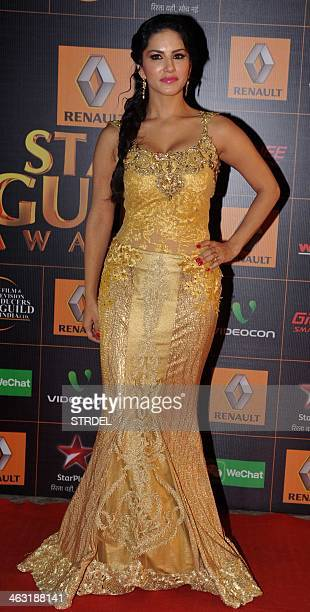 Indian Bollywood actress Sunny Leone poses for a photograph during the Renault Star Guild Awards ceremony in Mumbai on late January 16 2014 AFP...