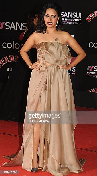 Indian Bollywood actress Swara Bhaskar attends the 14th Stardust Awards 2016 ceremony in Mumbai on December 19 2016 / AFP / Sujit JAISWAL