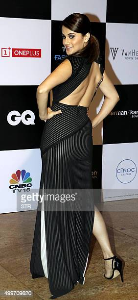 Indian Bollywood actress Taapsee Pannu attends the Van Heusen GQ fashion show in Mumbai on December 2 2015 AFP PHOTO / AFP / STR