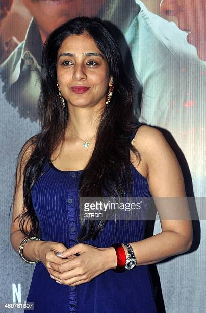 Indian Bollywood actress Tabbu poses for a photograph during a screening of Sri Lankan film Inam written directed and produced by Santosh Sivan in...