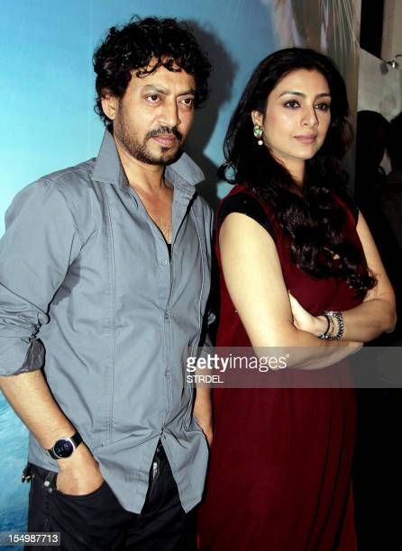 """Indian Bollywood actress Tabu and actor Irfan Khan pose during a promotional event for the forthcoming English film """"Life of Pi"""" directed by..."""