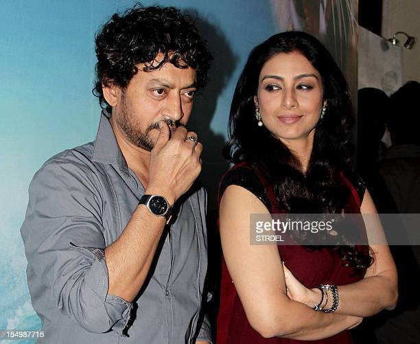 "Indian Bollywood actress Tabu and actor Irfan Khan pose during a promotional event for the forthcoming English film ""Life of Pi"" directed by..."