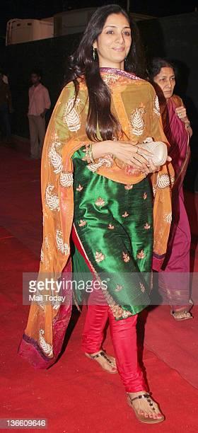 Indian Bollywood actress Tabu arrives at the Police show Umang 2012 held in Mumbai
