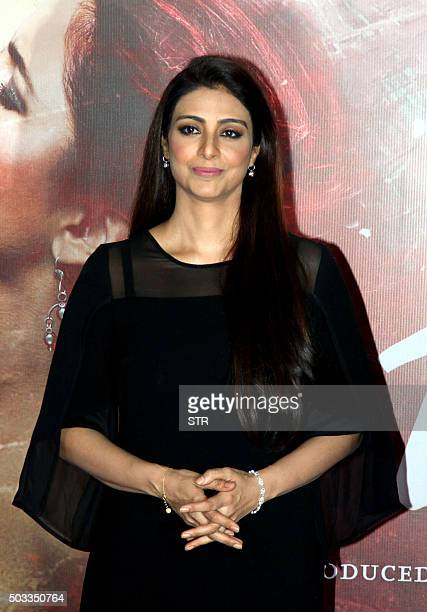 Indian Bollywood actress Tabu attends the trailer launch of their upcoming Hindi film 'Fitoor' in Mumbai on January 4 2016 AFP PHOTO / AFP / STR