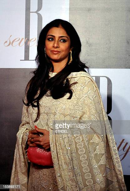 Indian Bollywood actress Tabu poses as she arrives to attend the 70th Birthday celebration of Bollywood actor Amitabh Bachchan in Mumbai on October...