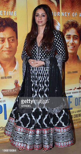 Indian Bollywood actress Tabu poses as she attends a special screening of the film 'Life of Pi in Mumbai late November 21 2012 AFP PHOTO/STR
