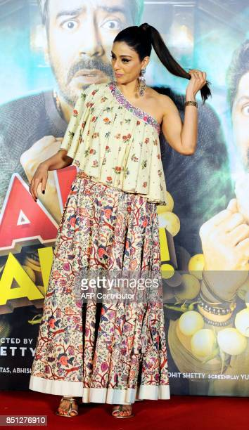 Indian Bollywood actress Tabu poses for a picture during the trailer launch of the upcoming Hindi film 'Golmaal Again' in Mumbai on September 22 2017...