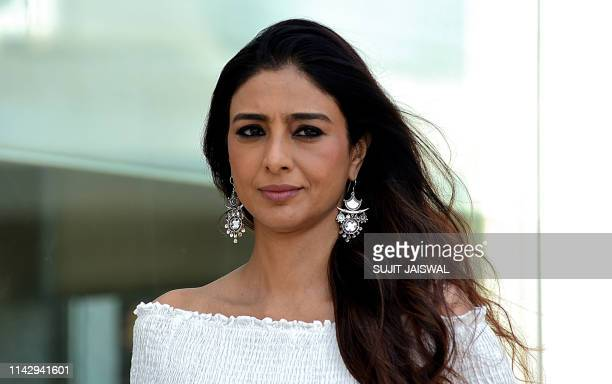 Indian Bollywood actress Tabu poses for photographs during the promotion of her upcoming romantic comedy Hindi film entitled 'De De Pyaar De' in...