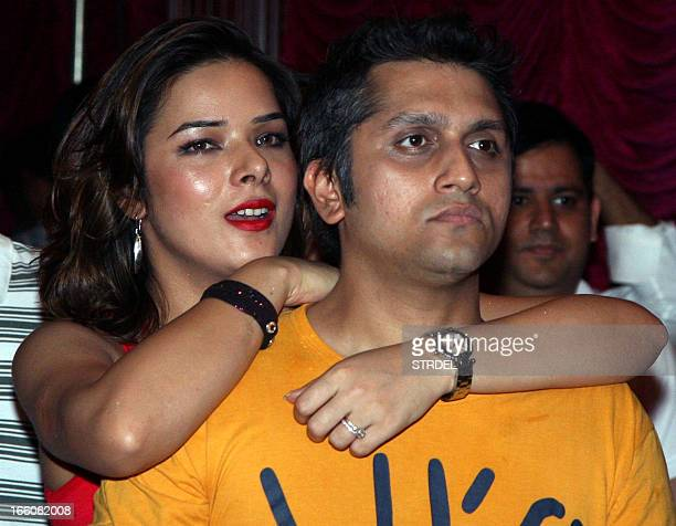 Indian Bollywood actress Udita Goswami with husband director Mohit Suri attend a soundtrack launch event for the forthcoming Hindi Film Aashiqui 2 in...