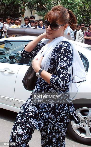 Indian Bollywood actress Urvashi Dholakia attends the funeral of Indian Bollywood actress Jiah Khan in Mumbai on June 5, 2013. Khan allegedly...
