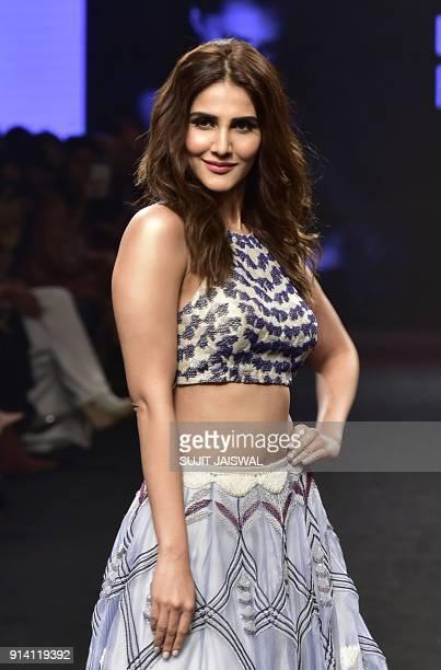 Indian Bollywood actress Vaani Kapoor showcases a creation by designer Neha Agarwal at the Lakmé Fashion Week Summer Resort 2018 in Mumbai on...