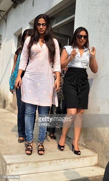 Indian Bollywood actress Vidya Balan and Rani Mukherjee arrive at the broadcasting station of 383 FM Radio to promote the new Hindi film 'No One...