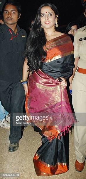 Indian Bollywood actress Vidya Balan arrives at the Police show Umang 2012 held in Mumbai
