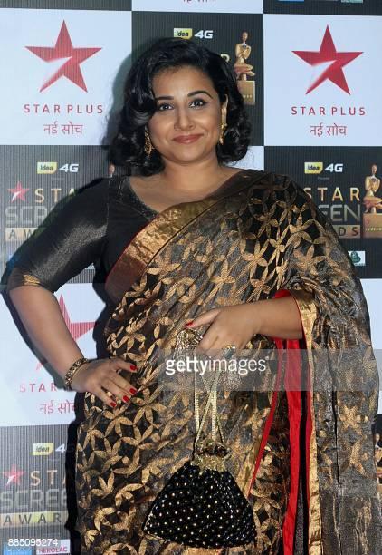 Indian Bollywood actress Vidya Balan attends the 'Star Screen Awards 2017' ceremony in Mumbai on December 3 2017 / AFP PHOTO /