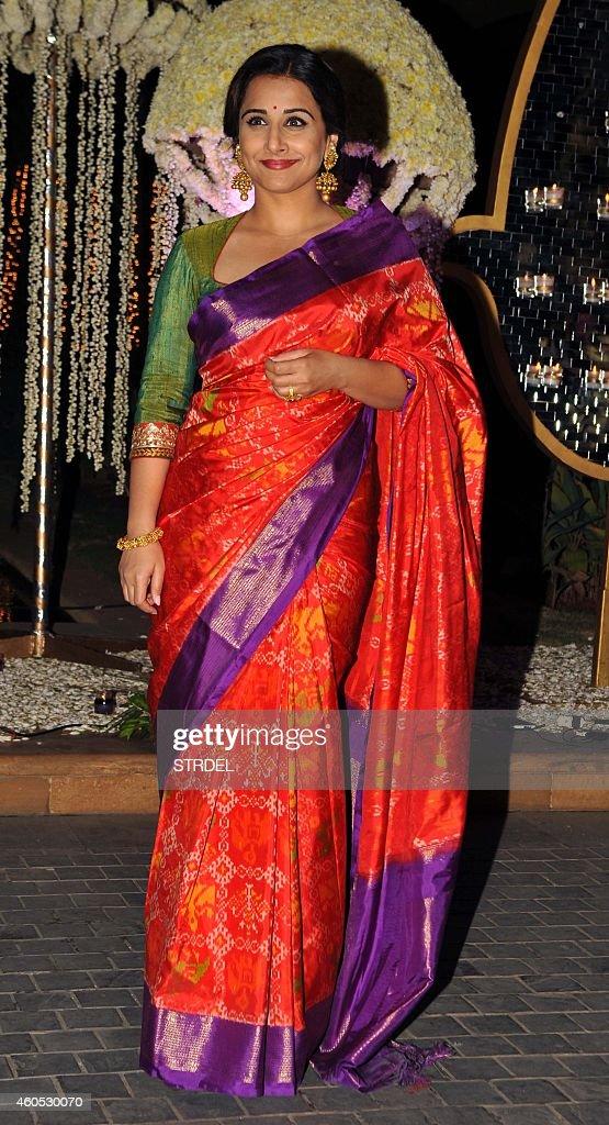 Indian Bollywood Actress Vidya Balan Attends The Wedding Reception Of Film Director Punit Malhotra And