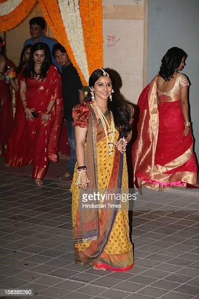 Indian bollywood actress Vidya Balan during her mehndi ceremony on December 12 2012 in Mumbai India