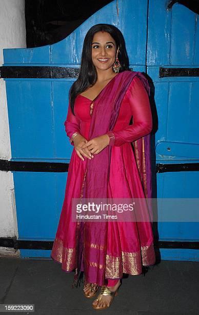 Indian bollywood actress Vidya Balan during the launch of Dabboo Ratnani's 2013 calendar at Olive Bar Kitchen khar on January 8 2013 in Mumbai India
