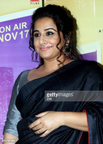 Indian Bollywood actress Vidya Balan poses for a photograph during a promotional event for the forthcoming Hindi film 'Tumhari Sulu' in Mumbai on...