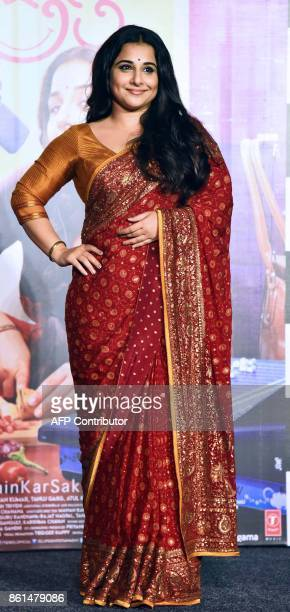 Indian Bollywood actress Vidya Balan poses for a picture during the trailer launch of the upcoming comedydrama Hindi film 'Tumhari Sulu' in Mumbai on...