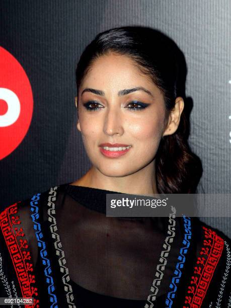 Indian Bollywood actress Yami Gautam attends GQ Indias Best Dressed Men of 2017 event in Mumbai on June 3 2017 / AFP PHOTO /