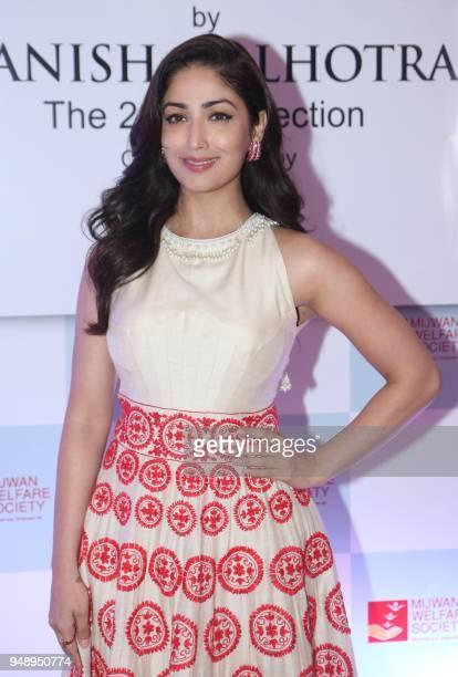 Indian Bollywood actress Yami Gautam attends the 'Mijwan Welfare Society' fundraiser fashion show in Mumbai on April 19 2018
