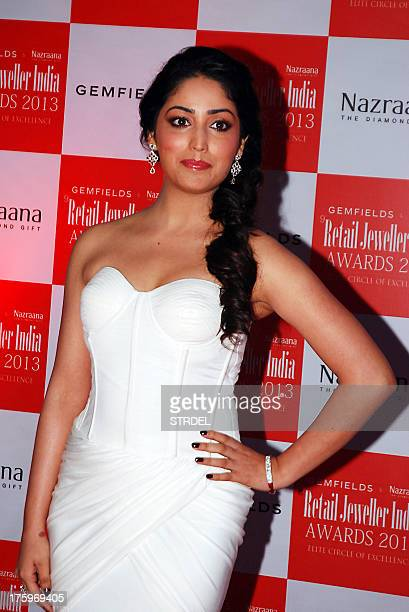 Indian Bollywood actress Yami Gautam poses as she attends the Retail Jeweller India Awards 2013 ceremony in Mumbai late August 10 2013 AFP PHOTO/STR