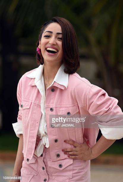 Indian Bollywood actress Yami Gautam poses during the promotion of the upcoming drama Hindi film 'Batti Gul Meter Chalu' in Mumbai on September 19...