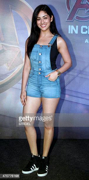 Indian Bollywood actress Yami Gautam poses for a photograph during a screening of Hollywood film 'Avengers Age of Ultron' in Mumbai on late April 22...