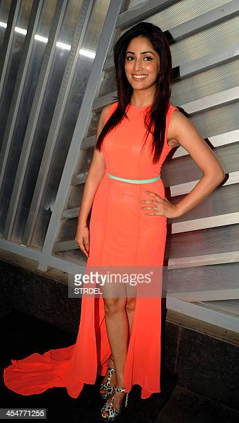 Indian Bollywood actress Yami Gautam poses for a photograph during the launch of a new magazine in Mumbai on December 10 2013 AFP PHOTO/STR
