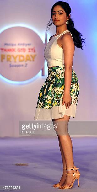 Indian Bollywood actress Yami Gautam takes part in a promotional event for a fashion show in Mumbai on July 2 2015 AFP PHOTO / STR