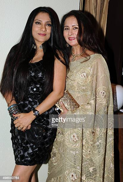 Indian Bollywood actresses Aarti Nath and Poonam Dhillon attend the launch of an ASSOCHAM coffee table book in Mumbai on November 23 2015 AFP PHOTO /...