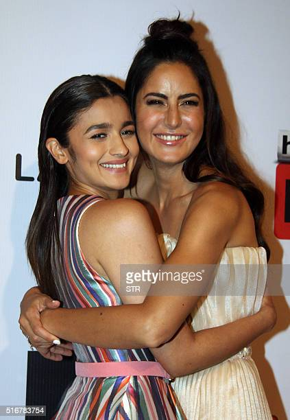 Indian Bollywood actresses Alia Bhatt and Katrina Kaif pose for a photograph during the 'HT Most Stylish Awards 2016' ceremony in Mumbai on late...