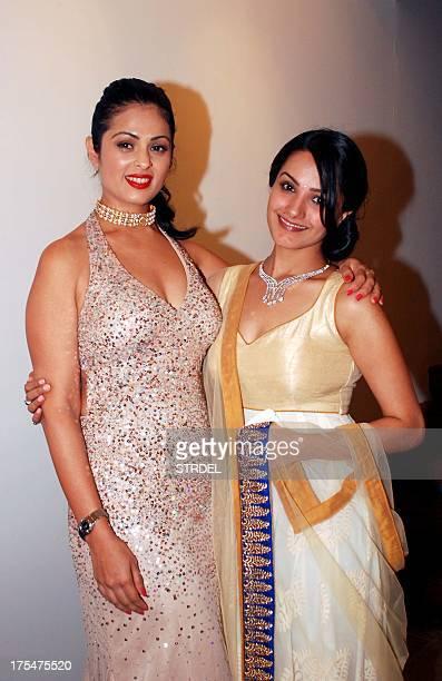 Indian Bollywood actresses Anjana Sukhani and Anita Hasnandani pose as they attend the Amanaya Art and Sagar Samir International Jewellery Fashion...