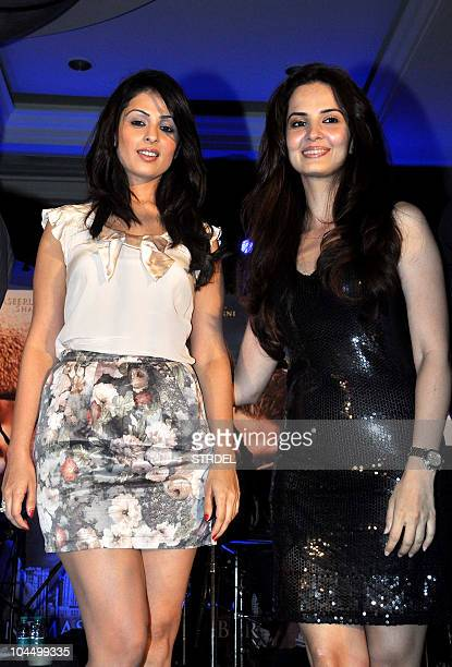 Indian Bollywood actresses Anjana Sukhani and Rukhsaar attend the music launch ceremony for the Faruk Kabirdirected Bollywood film 'Allah Ke Banday'...