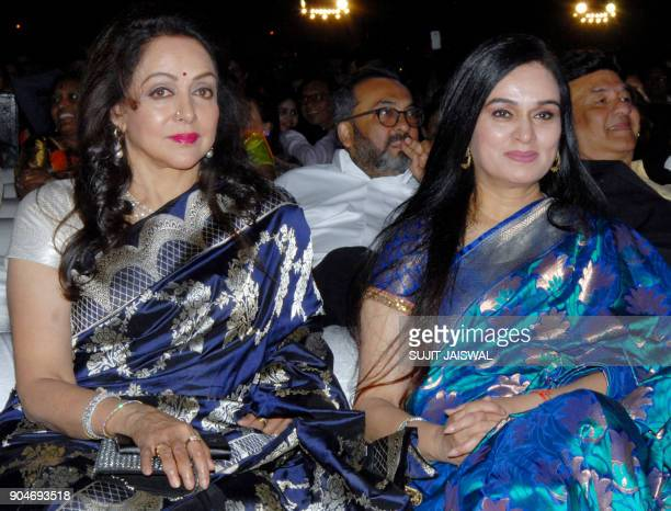 Indian Bollywood actresses Hema Malini and Padmini Kolhapure look on during the 'Umang Mumbai Police Show 2018' in Mumbai on late January 13 2018 /...