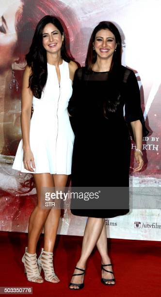 Indian Bollywood actresses Katrina Kaif and Tabu attend the trailer launch of their upcoming Hindi film 'Fitoor' in Mumbai on January 4 2016 AFP...